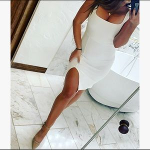 White leg slit dress